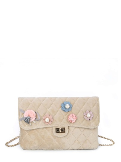 Flower Embellished Twist Lock Quilted Bag