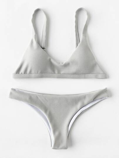 High Leg Textured Bikini Set