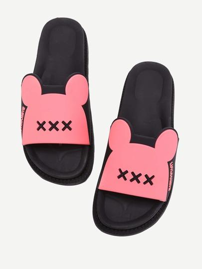 Letter Detail Ear Design Flatform Sandals