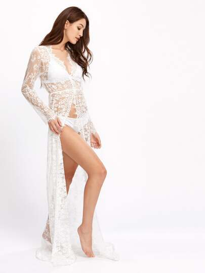 See-Through Florals Eyelash Lace Cover Up Dress