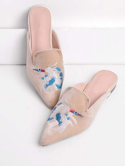 Embroidery Detail Flat Mules