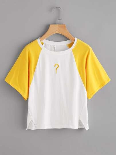 T-shirt ricamato con maniche raglan