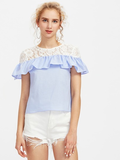Contrast Floral Lace Frill Layered Blouse