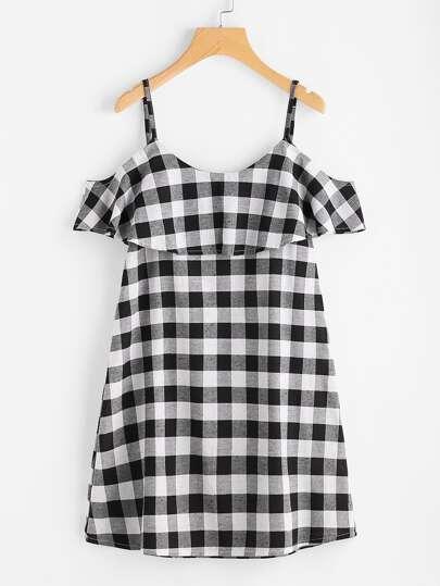 Checkered Frill Trim Dress