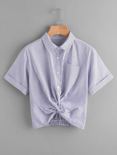 Twist Front Gathered Back Cuffed Shirt