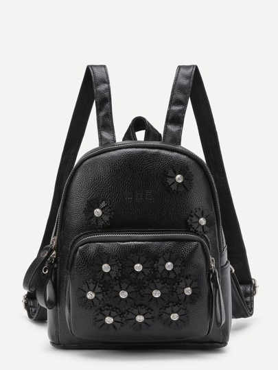 Rhinestone Flower Decorated PU Backpack