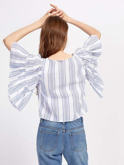 Butterfly Sleeve Striped Crop Blouse