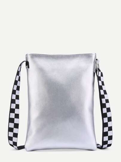 PU Crossbody Bag With Gingham Strap
