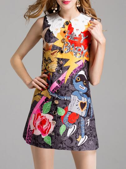Graffiti Embroidered Jacquard Beading Dress