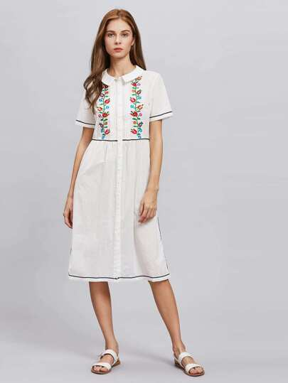 Symmetrical Embroidery Wave Lace Detail Fit & Flare Dress