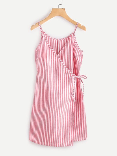 Vertical Striped Wrap Self Tie Cami Dress