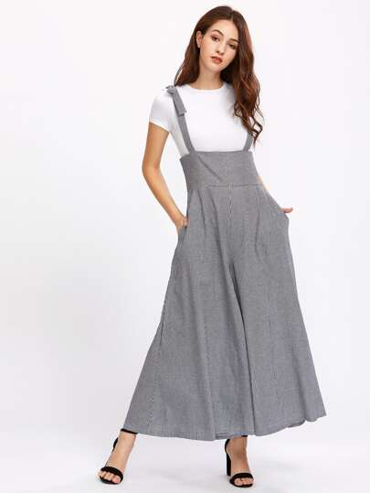 Gingham Bow Tie Strap Palazzo Overall