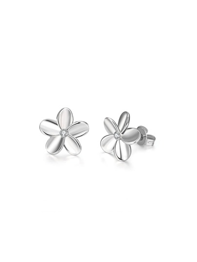 Rhinestone Embellished Flower Stud Earrings