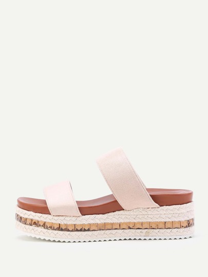 Strappy Woven Flatform Slip On Sandals