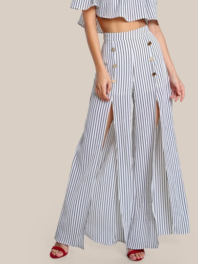 Split Front Stripe Pants WHITE