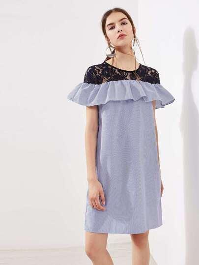 Contrast Lace Frill Trim Pinstripe Dress