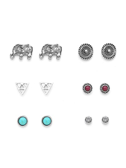 Metal Triangle And Elephant Design Earring Set With Gemstone