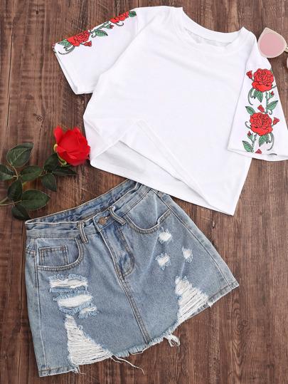 T-Shirt mit Rosemuster