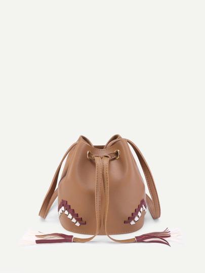 Braided Detail PU Bucket Bag With Tassel