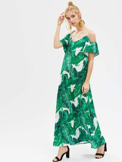 Banana Leaf Print Full Length Dress
