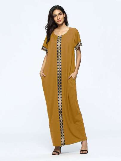Contrast Geo Panel Full Length Kaftan Dress