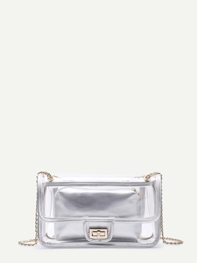 Twist Lock Clear Shoulder Bag With PU Clutch
