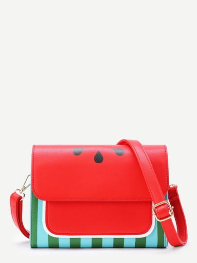 Watermelon Print Flap PU Shoulder Bag