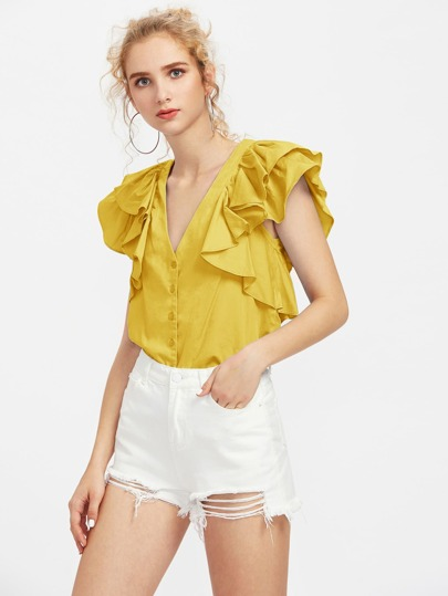 Plunging V-Neckline Ruffle Trim Blouse