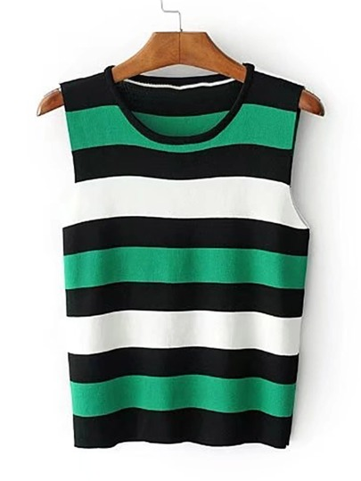 Striped Knitted Tank Top