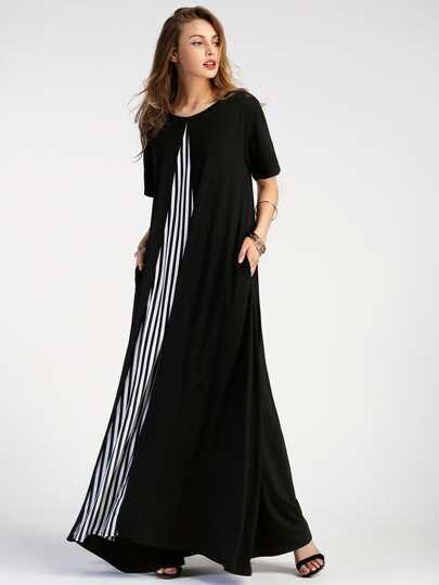 Vestito lungo con pannnello a strisce a contrasto