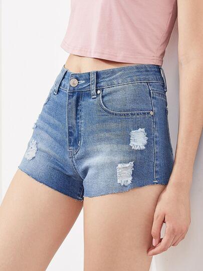 Ungesäumte Jeansshorts mit Rissen