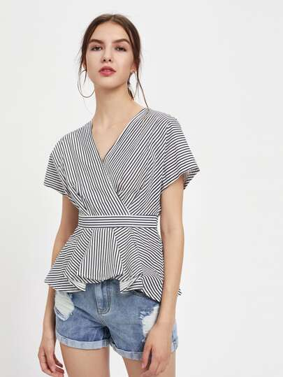 Buttons Back Surplice Front Pleated Peplum Top