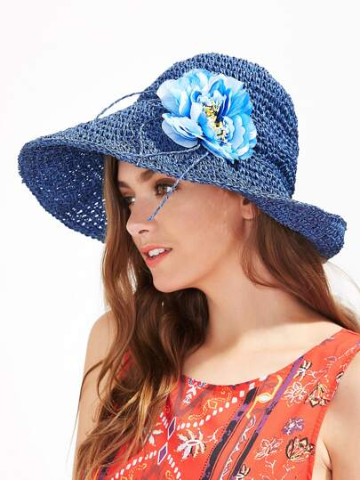 Random Flower Straw Beach Hat