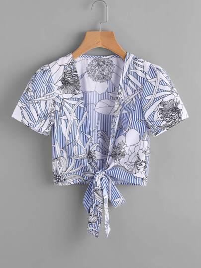 Blusa floral al azar de rayas con ribete de nudo