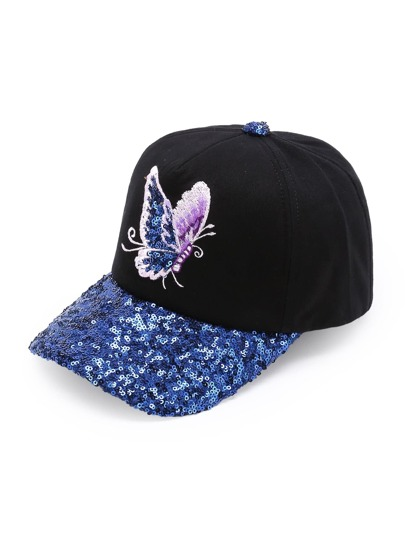 Butterfly Embroidery Sequin Brim Baseball Cap