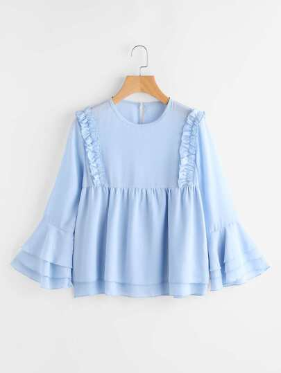 Tiered Trumpet Sleeve Frill Trim Blouse