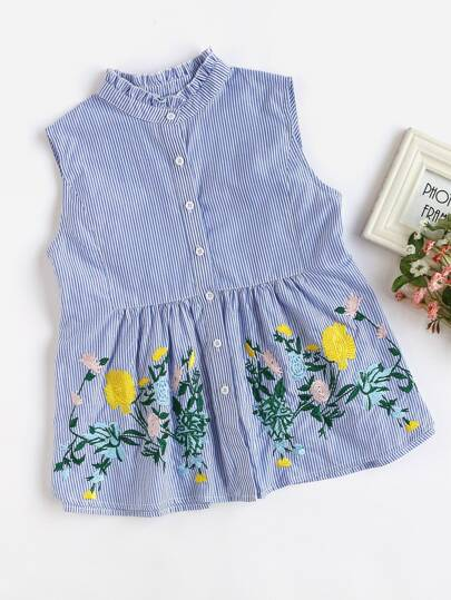 Frilled Collar Flower Embroidered Smock Blouse