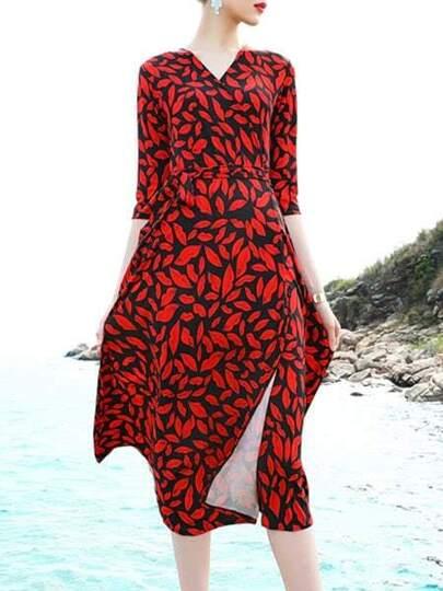 V Neck Leaves Print Split Dress