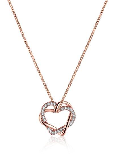 Collier en strass en forme du cœur