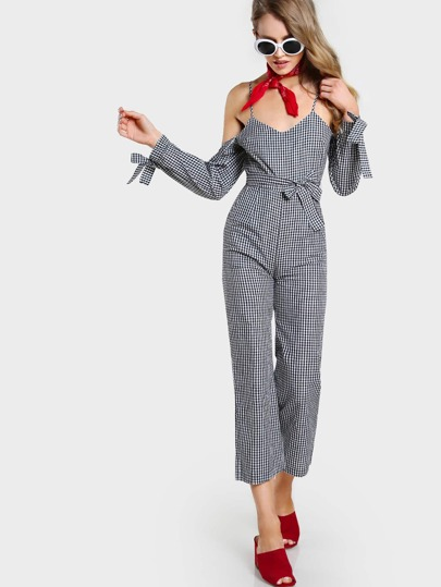 Tie Cuff And Waist Gingham Jumpsuit