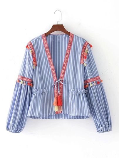 Embroidery Tape Tie Detail Blouse With Fringe