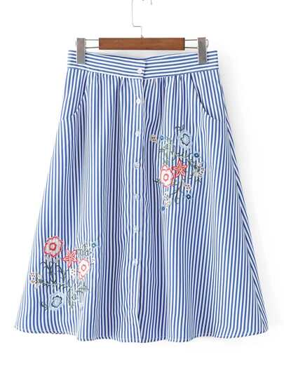 Vertical Striped Flower Embroidery Skirt