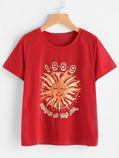 Tee-shirt imprimé du soleil graphique