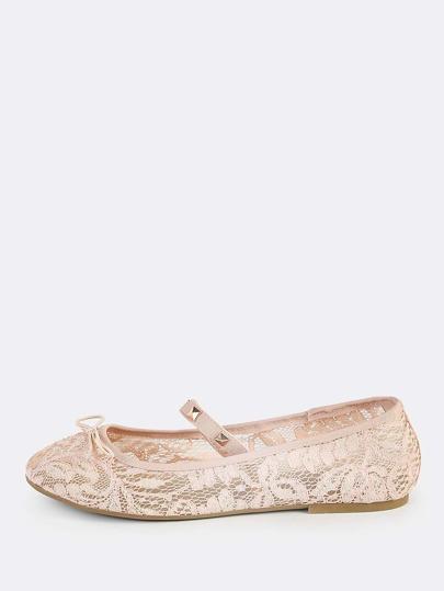 Studded Lace Ballet Flats BLUSH