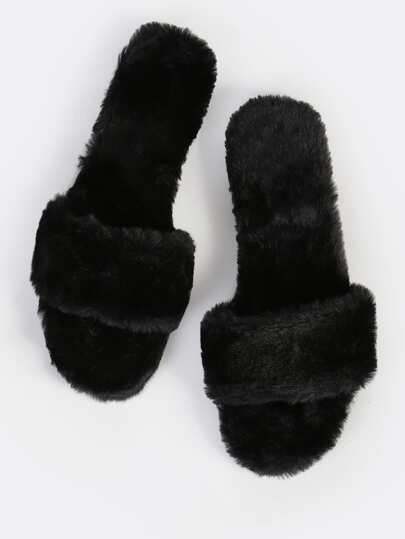 Faux Fur Slip On Sandals BLACK