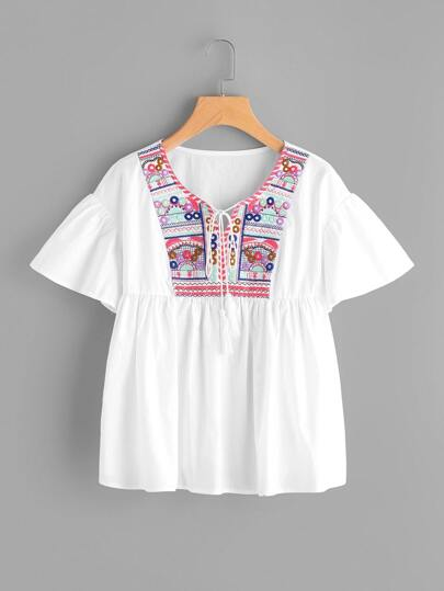 Tassel Tie Embroidered Yoke Flutter Sleeve Smock Top