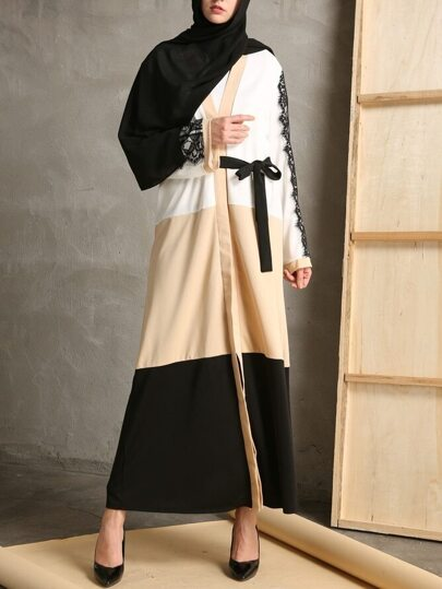 Color Block Contrast Eyelash Lace Abaya With Belt