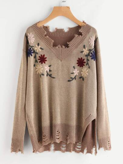 Flower Embroidered Destroyed Jumper