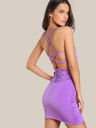 Caged Back Ruched Overlap Dress
