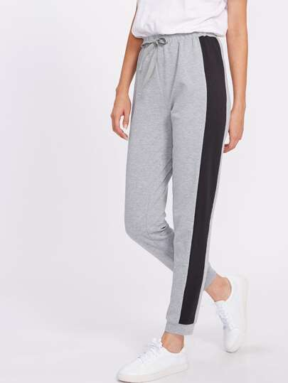 Contrast Panel Heather Knit Drawstring Sweatpants